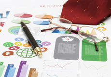 Infographics and pen Royalty Free Stock Photography