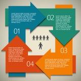 Infographics-Pfeil-Kreis-Effekt-alt-Papier-Weinlese Stockbild