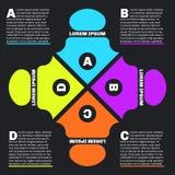 Infographics piano di stile con quattro frecce illustrazione di stock