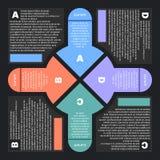 Infographics piano di stile con quattro frecce illustrazione vettoriale