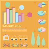 An infographics with a pie and bar graphs Royalty Free Stock Photography