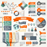 Infographics a placé avec des options Infographic, ruban, logo, icône et 3d dirigent des éléments Concept social de communication Photographie stock