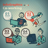 Infographics a placé dans le style d'un croquis de l'Internet global Photos libres de droits