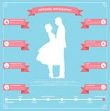 Infographics planning wedding and silhouette of the bride and groom royalty free stock images