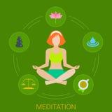 Infographics plano del vector de la meditación de la mujer stock de ilustración