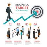 Infographics plat de vecteur d'étape de cible d'accomplissement d'affaires Photographie stock libre de droits