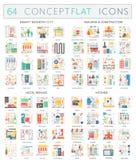 Infographics pojęcia ikony mądrze miasto, budynek budowa, schronisko usługa, kuchnia Premii ilości wektoru mieszkanie ilustracja wektor