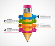 Infographics for presentations in education or business projects. Pencil and gears. Vector illustration. Royalty Free Stock Photo