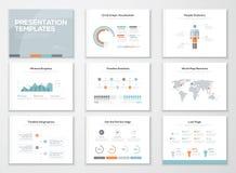 Infographics presentationsmallar och affärsbroschyrer Arkivbilder
