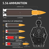 Infographics about the principle of bullet operation. Vector. Illustration Stock Images