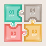 Infographics quatro etapas esquadra o enigma Imagem de Stock