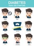 Infographics que muestra los síntomas de la gente con diabetes ilustración del vector