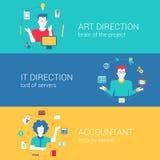 Infographics réglé de vecteur de Web de concept de calibre plat de bannières Images stock