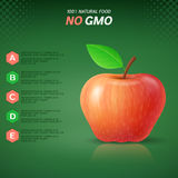 Infographics with red apple on green background Royalty Free Stock Photography