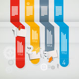 Infographics Retro Layout. Abstract Infographics Retro Layout with Paper Sheets, Cogs Stock Photography