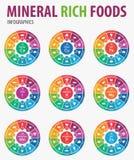 Infographics rico mineral de las comidas Imagen de archivo libre de regalías