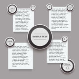 Infographics with round and rectangle stickers in black and white colors Stock Photography
