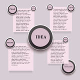 Infographics with round and rectangle stickers in pink colors Royalty Free Stock Images