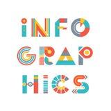 Infographics - słowo logo Podpisuje wewnątrz mieszkanie styl Zdjęcie Stock
