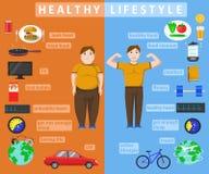 Infographics saudável do estilo de vida ilustração stock