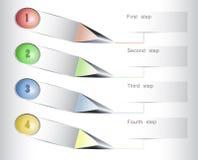 Infographics-Schablone für webdesign mit bunten Knöpfen und Pfeilen Lizenzfreies Stockbild