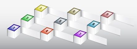 Infographics-Schablone mit Papierwürfeln und Zahlen Lizenzfreies Stockbild