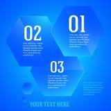 Infographics-Schablone-Plan-Darstellung-blau-Hexagon Lizenzfreie Stockfotos