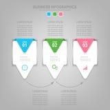 Infographics-Schablone von drei Schritten auf Quadraten Stockfotografie