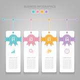 Infographics-Schablone von vier Schritten auf Quadraten Stockbilder