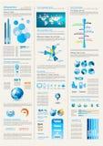 Infographics Seite mit vielen Auslegungelementen Lizenzfreie Stockbilder