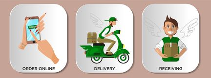 Infographics service delivery courier. Online shopping stages royalty free illustration