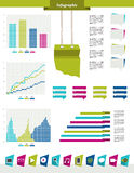 Infographics set elements. Vector design template. Charts, graphs and speech bubblse for print or web page Royalty Free Stock Photo