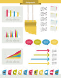 Infographics set elements. Vector design template. Charts, graphs and speech bubblse for print or web page Stock Photos