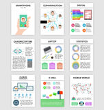 Infographics set in flat style about smartphone, digital, communication. Stock Photo