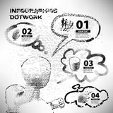 Infographics set style dotwork on the topic of business career Stock Photography