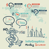 Infographics set in the style of a sketch of the funny monkey Stock Photography
