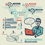 Infographics set in the style of a sketch of the global Internet. Users and business Stock Photos