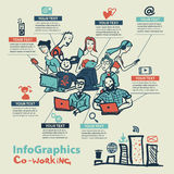 Infographics set in the style of a sketch of the global Internet. Users and coworking Royalty Free Stock Photos
