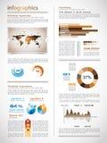 Infographics sida med element för en raddadesign Royaltyfri Bild