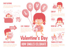 Infographics about singles celebrate valentine's day Stock Images