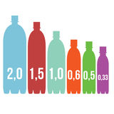 Infographics sizes of PET bottles vector. Illustration Royalty Free Stock Photography
