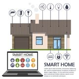 Infographics of the smart house. Home, laptop computer and a s. Et of smart home icons. Place for text. Vector illustration Stock Photography