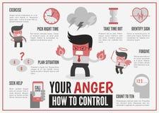 Infographics sobre a gestão da raiva ilustração do vetor