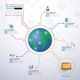 Infographics social da rede com os ícones ajustados Vetor Ilustração Foto de Stock