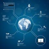 Infographics social da rede com os ícones ajustados Vetor Ilustração Fotos de Stock Royalty Free