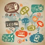 Infographics sociale di media messo con la comunicazione Fotografia Stock Libera da Diritti