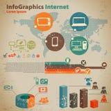 Infographics sociale di media messo con la comunicazione Fotografie Stock