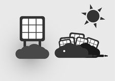 Infographics of solar cell. Infographics of solar cell on the clouds with sun . Vector design Royalty Free Stock Photography