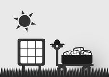 Infographics of solar cell. Infographics of solar cell on the road with sun. Vector design Royalty Free Stock Images