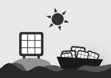 Infographics of solar cell. Infographics of solar cell on the sea with sun . Vector design Royalty Free Stock Photo